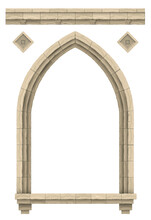Stone Beige Antique Gothic Castle Or Temple Arch