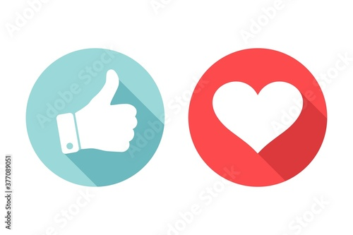 Fotografiet Thumb up and heart icon