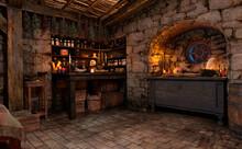 3D Rendering Medieval Fantasy Cottage
