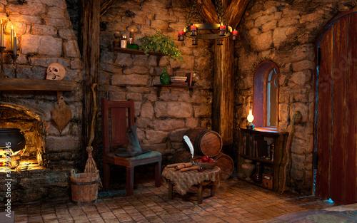 Obraz 3D Rendering Medieval Fantasy Cottage - fototapety do salonu