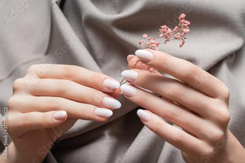 Fotografia, Obraz Female hands with white nail design