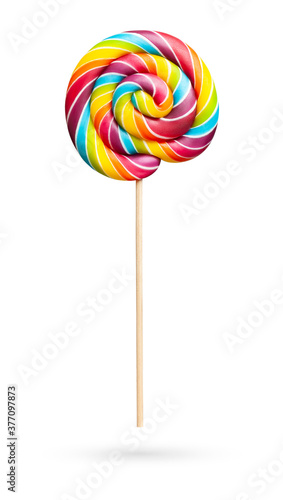 Fotografie, Tablou Rainbow colored lollipop on white background
