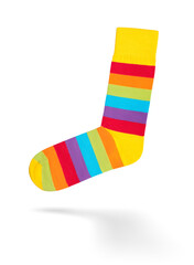Multi colored socks on white background