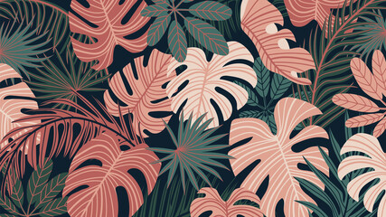 Naklejka Liście Tropical forest art deco wallpaper. Floral pattern with exotic flowers and leaves, split-leaf Philodendron plant ,monstera plant, Jungle plants line art on trendy background. Vector illustration.
