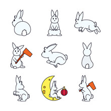Cute Rabbits And Mid Autumn Ic...