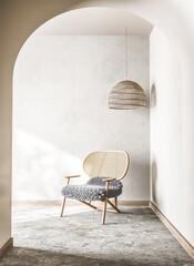 Scandinavian interior living room design, trendy home decor, 3d render