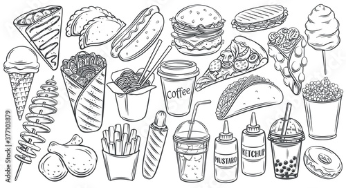 Photo Fast food outline drawn icon