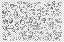 Space Doodle Set Collection Of Hand Drawn Sketches Templates Patterns Of Cosmic Objects Stars And Planets With Meteors And Black Holes On Transparent Background. Universe Or Galaxy Illustration.