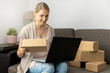 Leinwandbild Motiv online shopping or small internet store business concept - young smiling woman sitting on couch with laptop and cardboard boxes