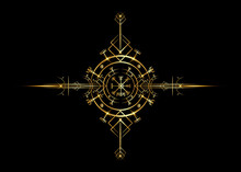 Magic Ancient Viking Art Deco, Vegvisir Magic Navigation Compass Ancient. The Vikings Used Many Symbols In Accordance To Norse Mythology,  Widely Used In Viking Society. Logo Icon Wiccan Esoteric Sign