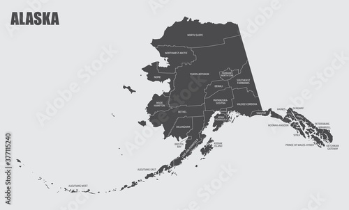 The Alaska map divided in counties with labels, USA Fototapet