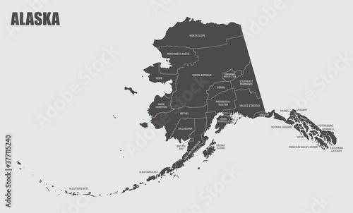 The Alaska map divided in counties with labels, USA Tapéta, Fotótapéta