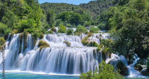 Fototapeta Main waterfall cascade on National Park on Krka river near Sibenik town in Dalma