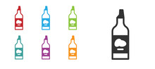 Black Bottle Of Olive Oil Icon Isolated On White Background. Jug With Olive Oil Icon. Set Icons Colorful. Vector.