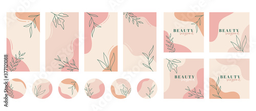 Fototapeta Social media stories, posts, highlights templates. Abstract floral vector backgrounds with copy space for text obraz