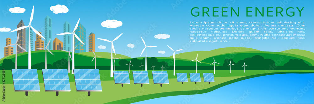 Fototapeta Green energy concept banner design with wind turbines and solar panels on the background of the cityscape. Renewable solar and wind energy sources. Vector illustration, flat style. space for text
