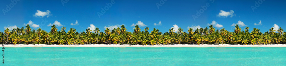 Fototapeta Coastline with coconut palm tree jungle on caribbean beach,  Island Saona. Dominican Republic