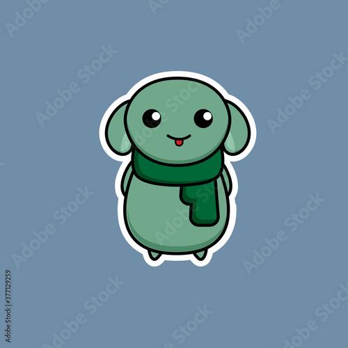 Obraz na plátně Cute Yoda Green Alien with A Scarf Cartoon Character Vector Illustration Isolate