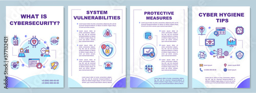 Fototapeta Cyber security tips brochure template obraz