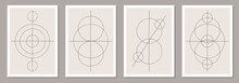 Trendy Set Of Abstract Creative Minimalist Artistic Hand Drawn Composition