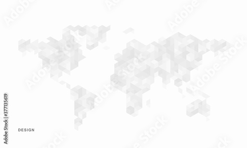 Fototapeta Abstract geometric technological world map background. Vector creative design. obraz