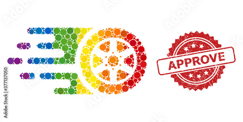 Distress Approve Stamp and Rainbow Tire Wheel Collage Wallpaper Mural