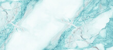 Marbled Background Banner Panorama - High Resolution Abstract White Aquamarine Turquoise Carrara Marble Stone Texture