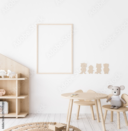 Mock up poster frame in children room, wooden farmhouse style, 3d render