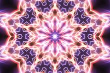 Purple Neon Glowing Geometric ...