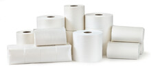Rolls Of Toilet Paper, Paper Towels And Packs Of Napkins Isolated On White Background