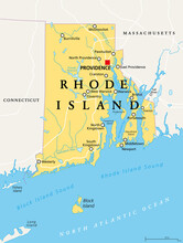 Rhode Island, Political Map With The Capital Providence. State Of Rhode Island And Providence Plantations, RI, A State In The New England Region Of The United States Of America. Illustration. Vector.