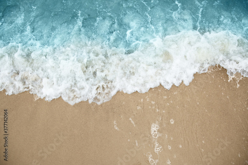 Stampa su Tela Beautiful view of sea tide on sandy beach. Summer vacation