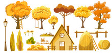 Set Of Trees, Bushes, House, Haystacks, Lantern And Flower. Autumn Thematics