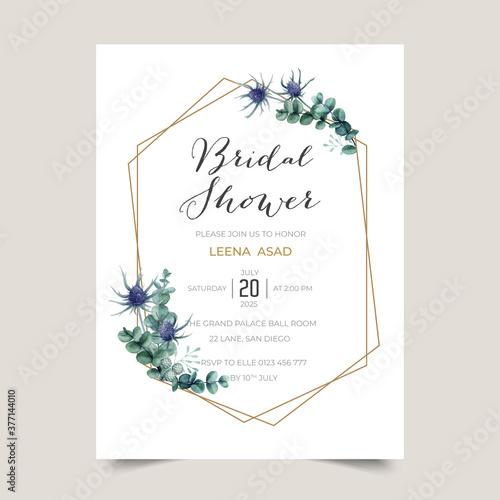 Fotografia Watercolor thistle invitation for bridal shower party