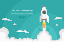 Business Startup Concept In Flat Design Style. Space Rocket Launch. Vector Illustration.