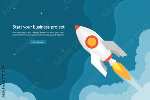 Business start up concept with launching rocket. Fotobehang