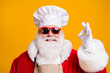 canvas print picture - Great miracle x-mas christmas feast cooking. Santa claus in chef cap headwear show okay sign wear sunglass red costume isolated over bright shine color background