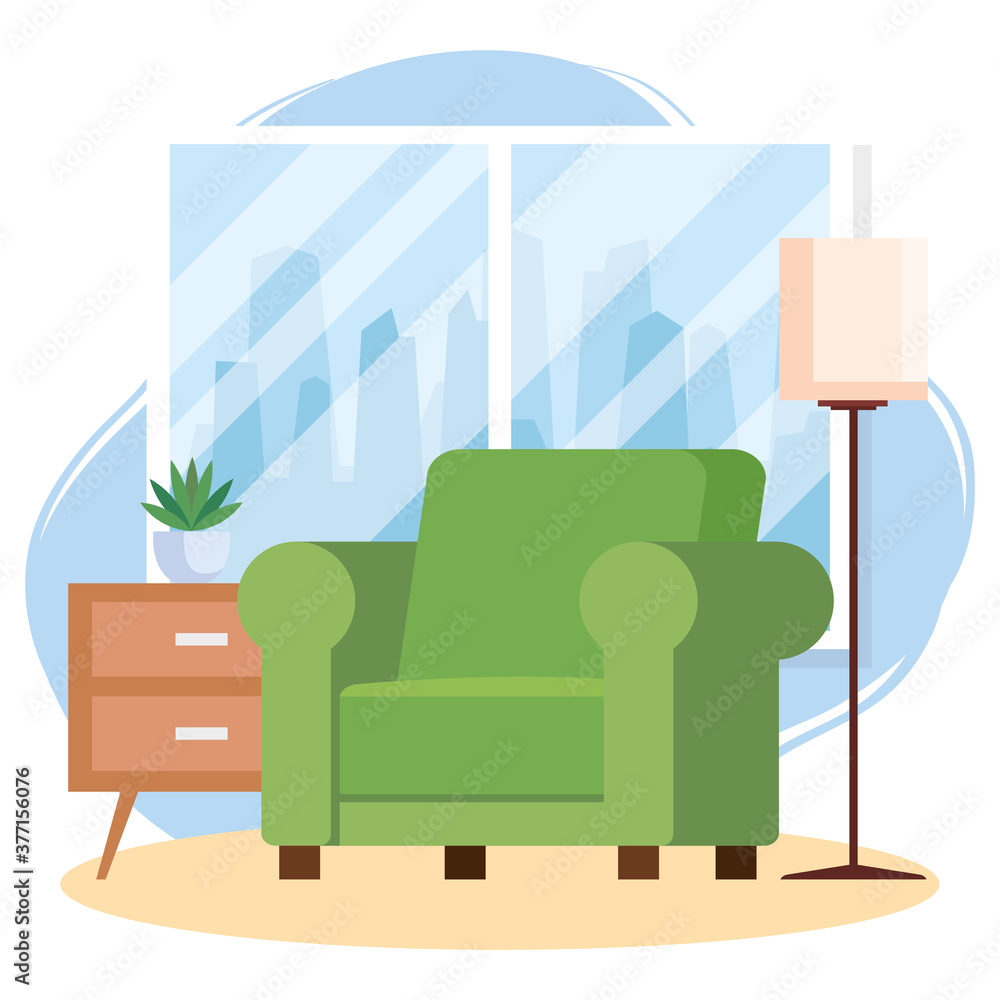 living room home place, sofa and house interior decoration vector illustration design