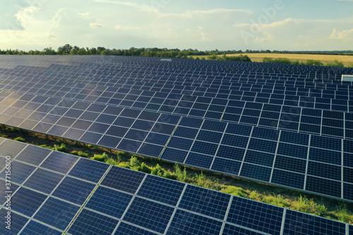 Solar panels installed outdoors. Alternative energy source Fotobehang