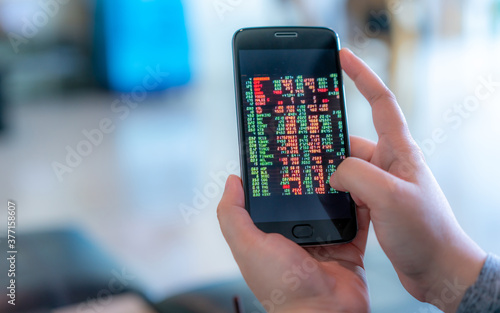 Stocks Trading On Mobile Canvas-taulu