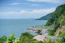 Noen Nangphaya Viewpoint. One Of Most Popular Tourist Attractions In Chantaburi. Chalerm Burapha Chonlathit Highway Look From Noen Nangphaya In Chanthaburi Province, Thailand.