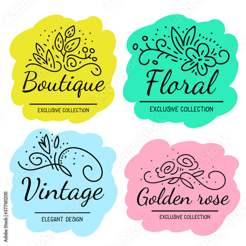 Vector set of illustration of beautiful floral decoration with inscription on color background. #377161200