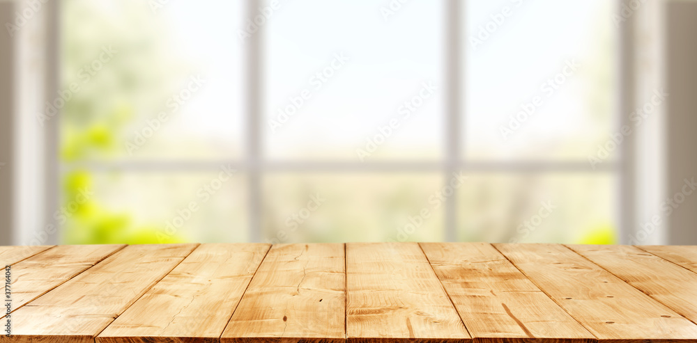 Fototapeta Table background of free space and window