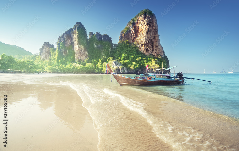 Fototapeta boats on Railay beach in Krabi Thailand