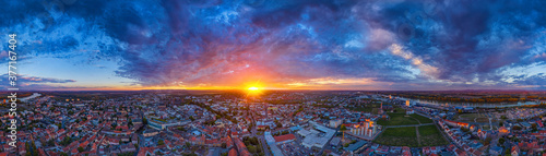 Photographie golden sunset over the city of worms, germany 360° vr