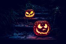 Halloween Pumpkins Lanterns On A Ladder