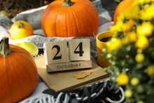 Concept Of 24 October With Pumpkins Outdoor