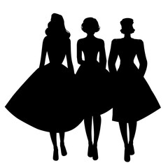 Silhouettes of three girls wearing retro clothes walking together isolated on white background