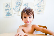 Portrait Of Boy In Front Of Blue Coloring Pages