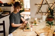 Boy Building And Decorating A ...